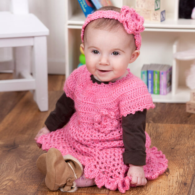 Red Heart Little Sweetie Dress & Headband, 6 mos in color