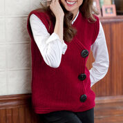 Red Heart Side Buttoned Vest, S