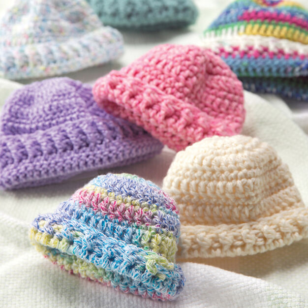Red Heart Preemie Hats, Crochet in color