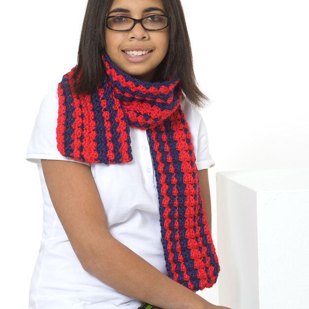 Red Heart Be Proud Scarf in color