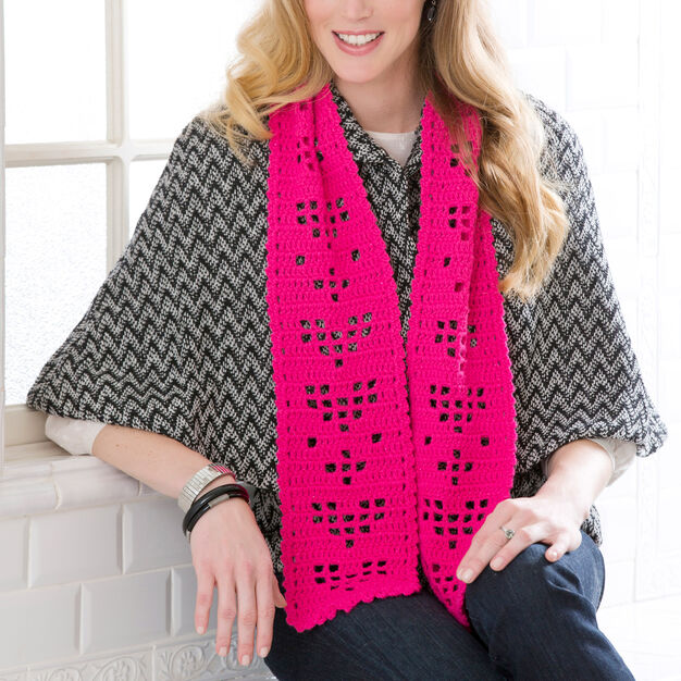 Red Heart Shimmery Hearts Scarf in color