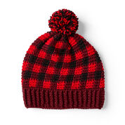 Red Heart Buffalo Plaid Crochet Hat for Him