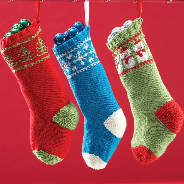 Knit stocking pattern using stranded colorwork to create snowmen, Christmas trees, or snowflake designs.