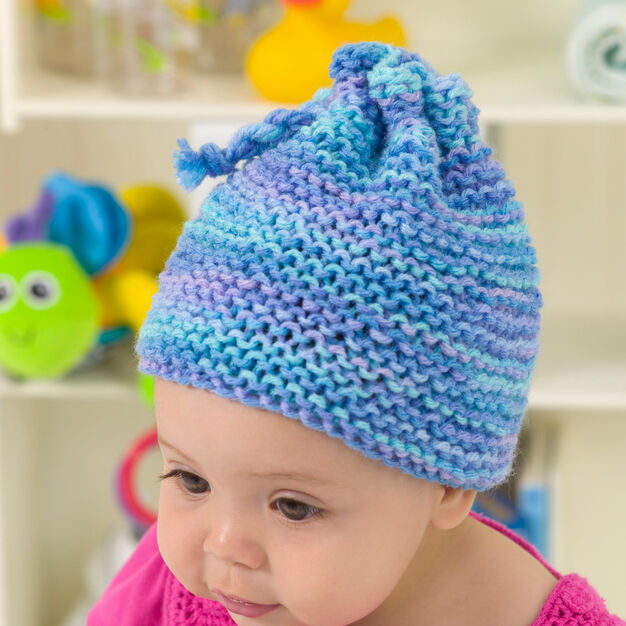 Red Heart Knit Garter Stitch Baby Hat in color