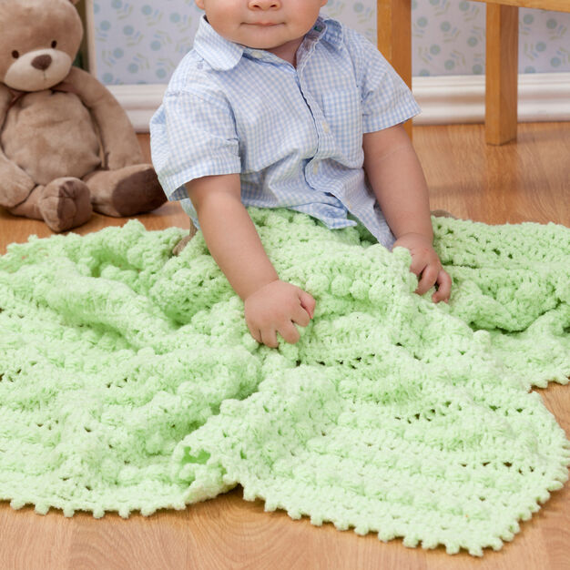 Red Heart Bobble Baby Blanket in color
