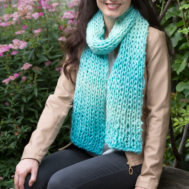Red Heart Sea Glass Scarf in color