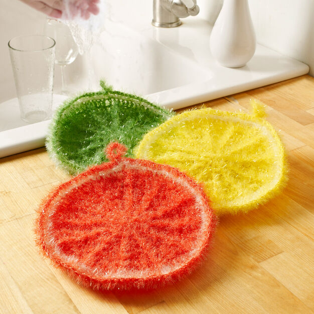 Red Heart Splash of Citrus Scrubby in color