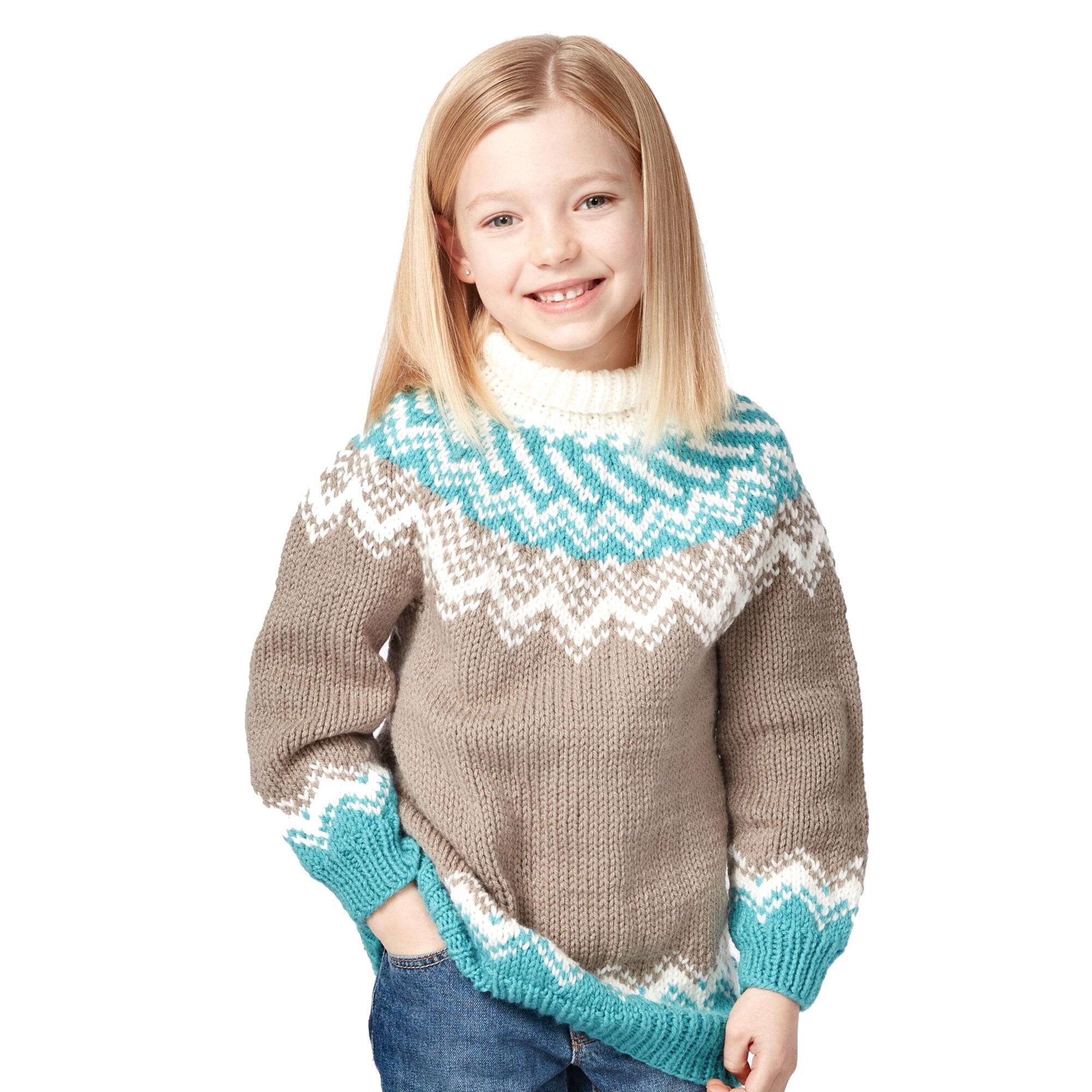 f89321010d57 ... Bernat Knit Fair Isle Yoke Sweater