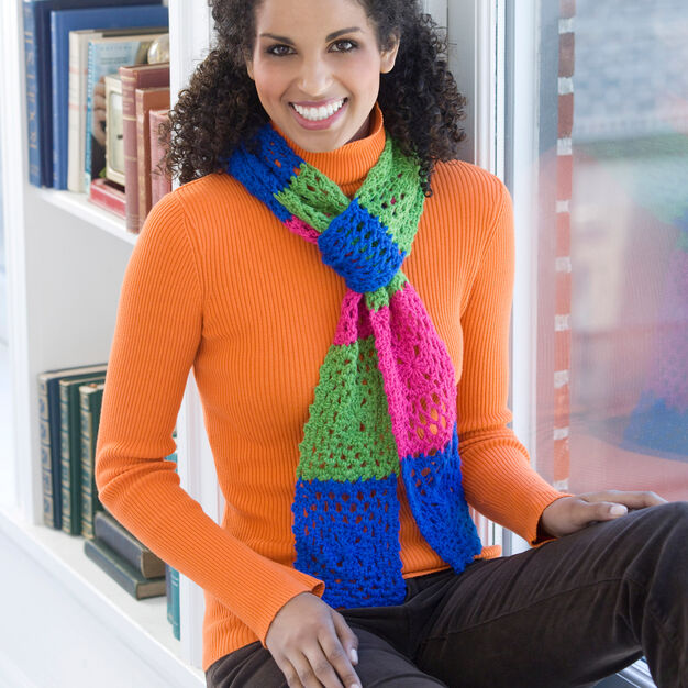 Red Heart Shimmer Granny Scarf in color