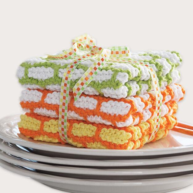 Bernat Brick Stitch Dishcloth in color