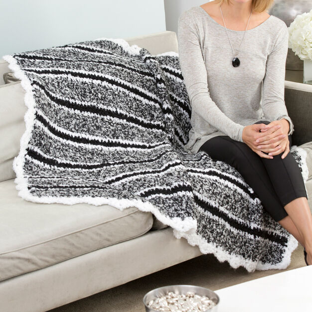 Red Heart Cozy Striped Throw in color