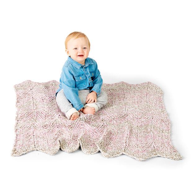 Bernat Chevron Stripes Knit Baby Blanket in color