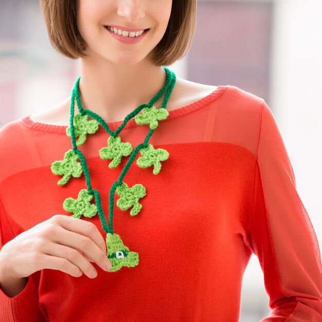Red Heart Shamrock Charm Necklace in color