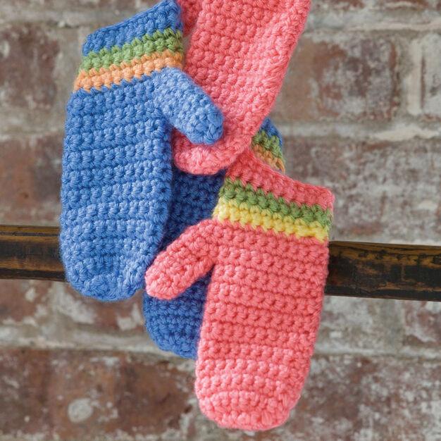 Caron Crochet Striped Mittens, Boys