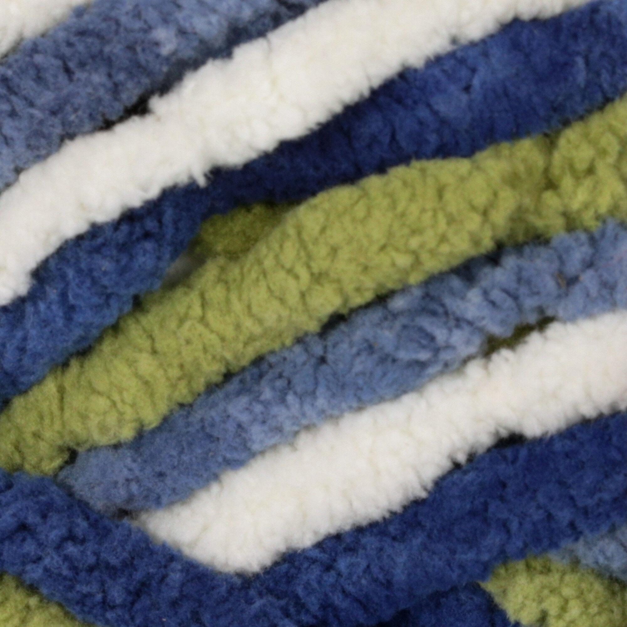 OCEANSIDE 00103 Bernat  Blanket Yarn 5.3 oz ~150g ~ 108 yds per Skein Navy Green White Bulky Yarn ~ Winter Yarn ~ Blanket ~ Scarf ~ Hat Yarn