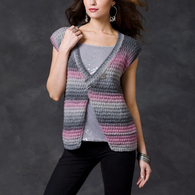 Red Heart Midnight Sky Vest, S in color
