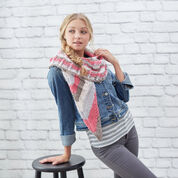 Red Heart Lacy Stripes Knit Shawl
