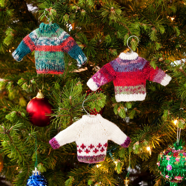 Red Heart Noel Knit Sweater Ornaments in color