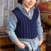 Red Heart Boy's Seeded Rib Vest, S