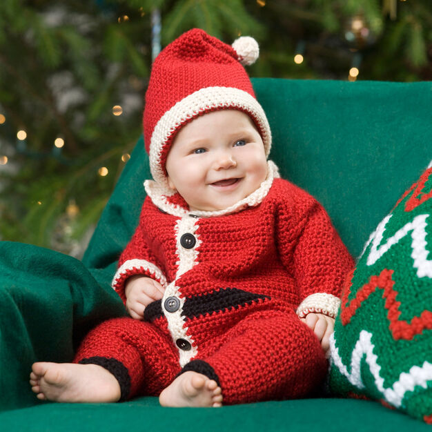 Red Heart Infant Santa Suit & Hat, 3 mos