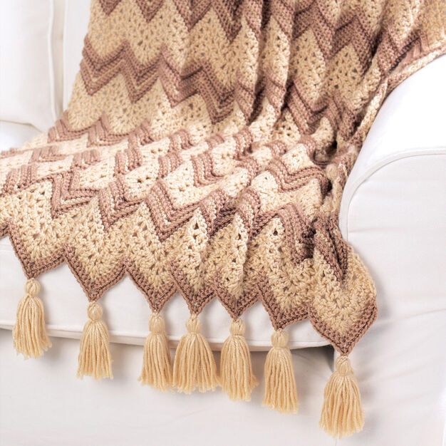 Bernat Ripple Beige Afghan in color