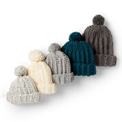 Go to Product: Bernat Basic Crochet Ribbed Family Hat, Gray Ragg - Size Adult in color