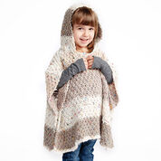 Caron Hooded Girl's Knit Poncho, 2-4 years