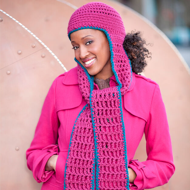 Red Heart Hooded Scarf in color