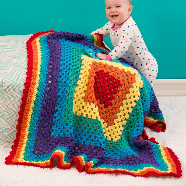 Red Heart Radiant Rainbow Blanket in color