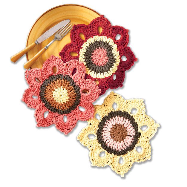 Lily Sugar'n Cream Woodsy Sunflower Crochet Dishcloths