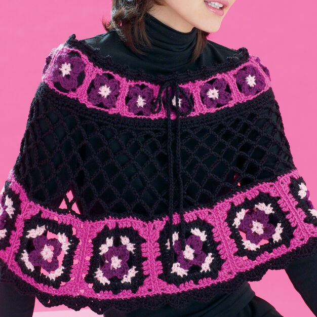 Bernat Flower Power Granny Poncho, XS-M in color