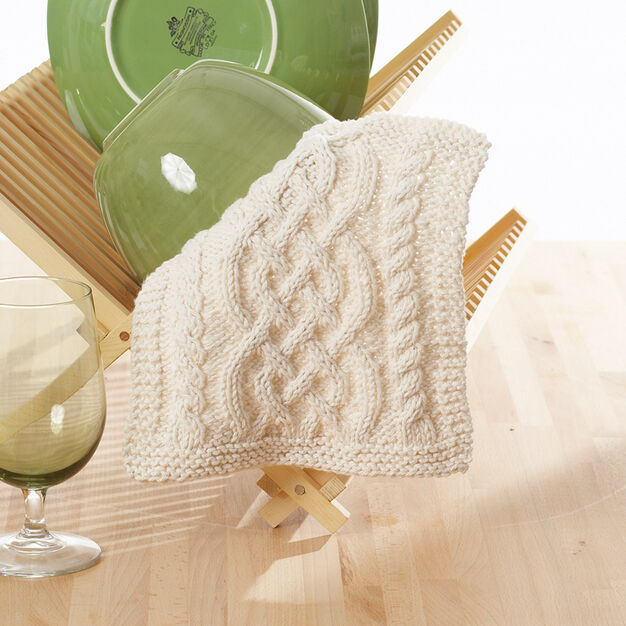 Lily Sugarn Cream Celtic Cables Dishcloth Yarnspirations