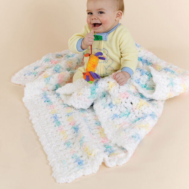 Red Heart Crochet Contented Baby Blankie in color