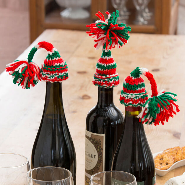 Red Heart Holiday Bottle Beanies in color