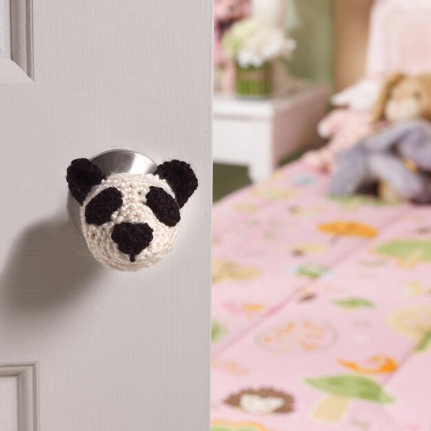 Red Heart Panda Doorknob Cozy in color