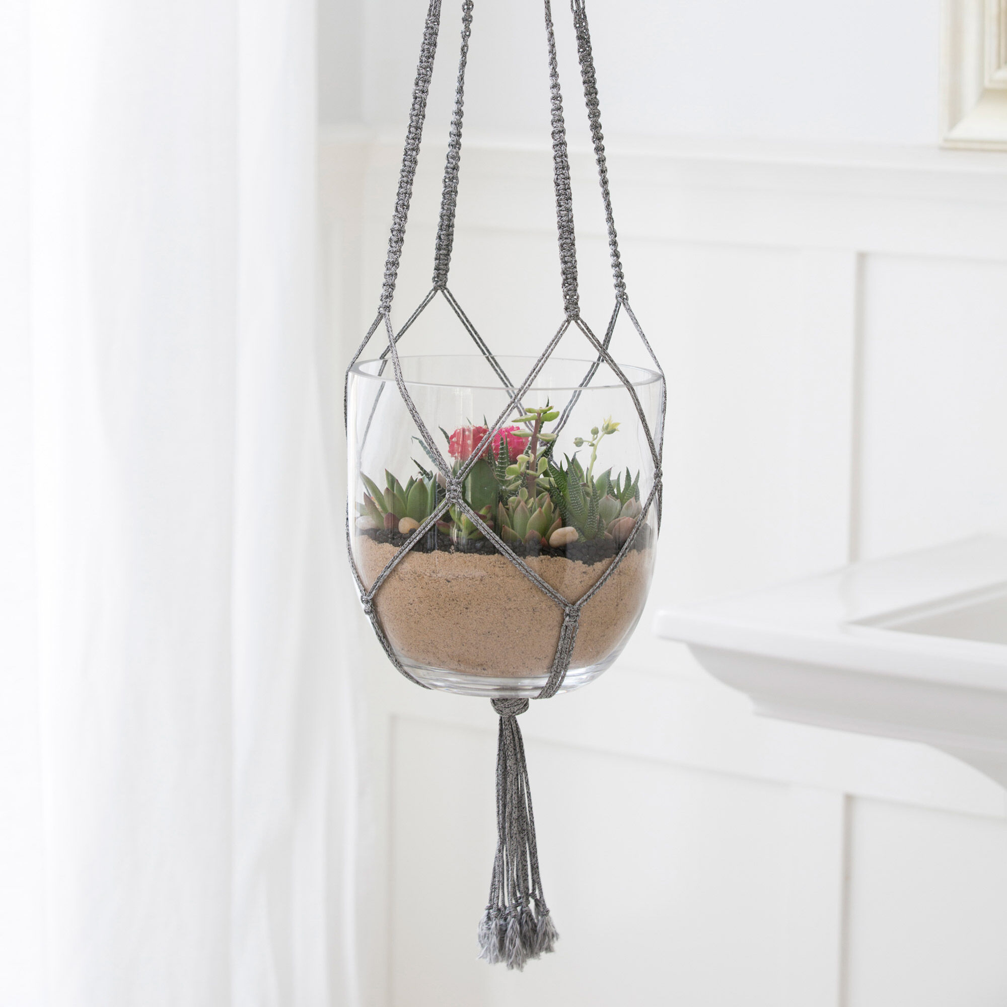 graphic regarding Free Printable Macrame Plant Hanger Patterns known as Pink Centre Macramé Plant Hanger Yarnspirations