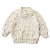 Caron Child's Knit Crew Neck Pullover, Off White - Size 2