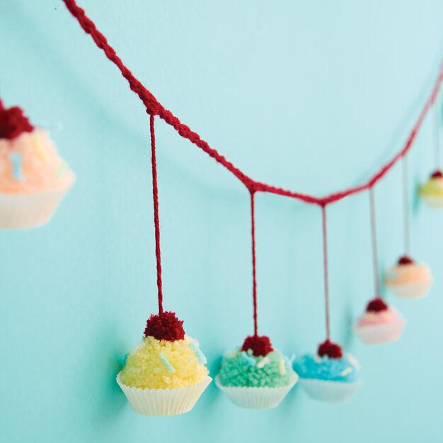 Bernat Pompom Cupcake Garland in color