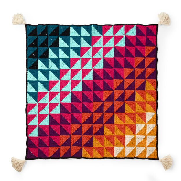 Red Heart Prismatic Chromatic Crochet Blanket in color