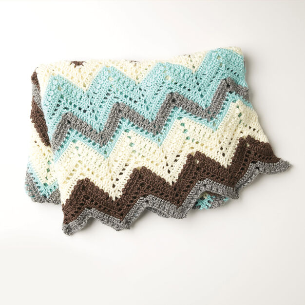 Caron Cabin In The Woods Crochet Afghan, Blue   Yarnspirations