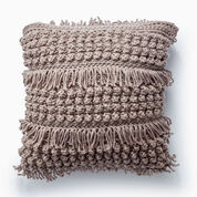 Bernat Tassel and Texture Crochet Pillow, Taupe