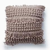Bernat Tassel and Texture Crochet Pillow, Taupe