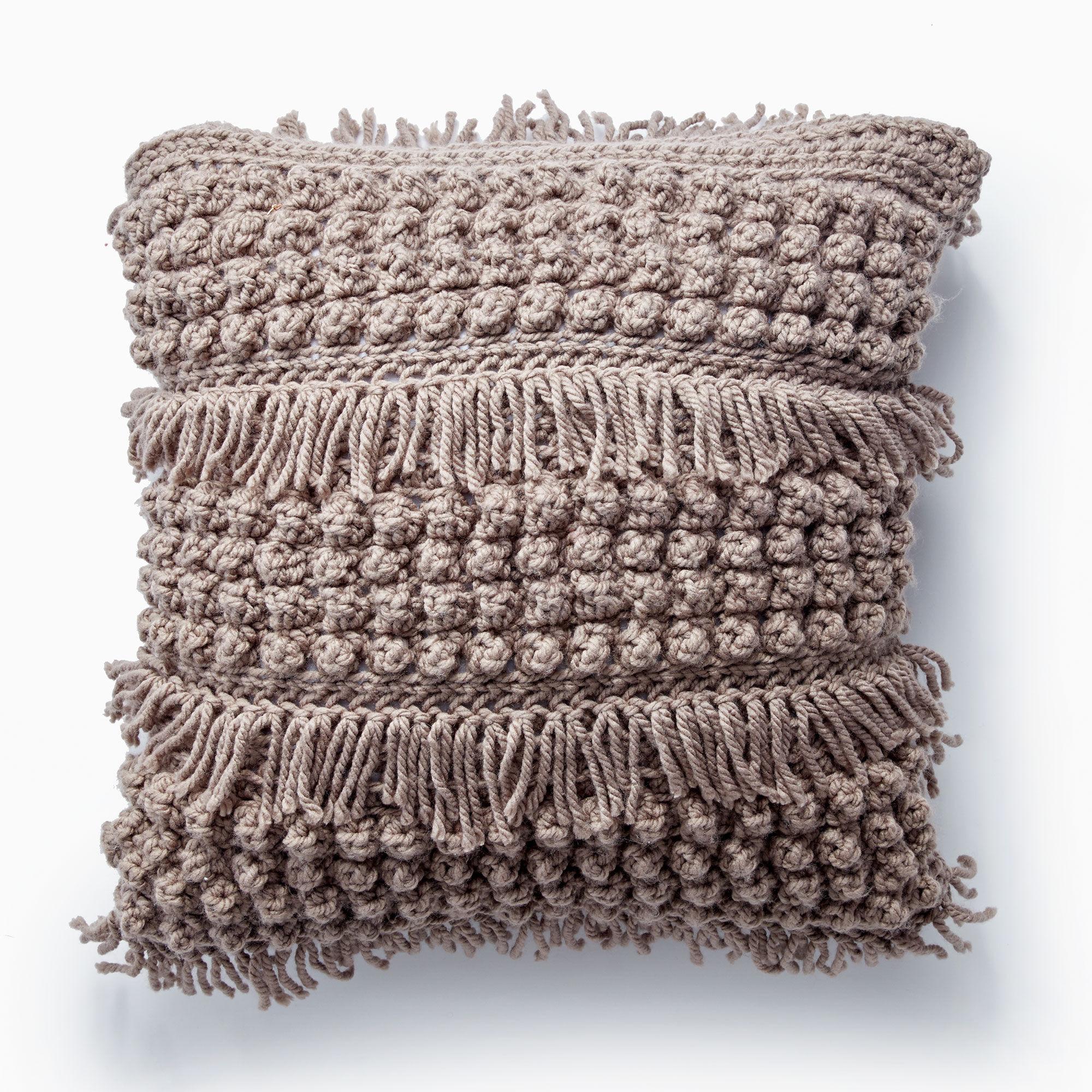 Bernat Tassel and Texture Crochet Pillow, Taupe | Yarnspirations