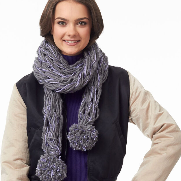 Bernat Post Haste Pompom Arm Knit Scarf in color