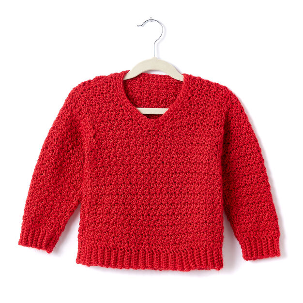 Caron Adult Crochet V-Neck Pullover, XS/S