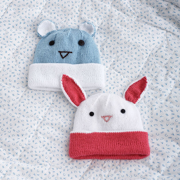Bernat Knit Hats with Ears, Bunny in color