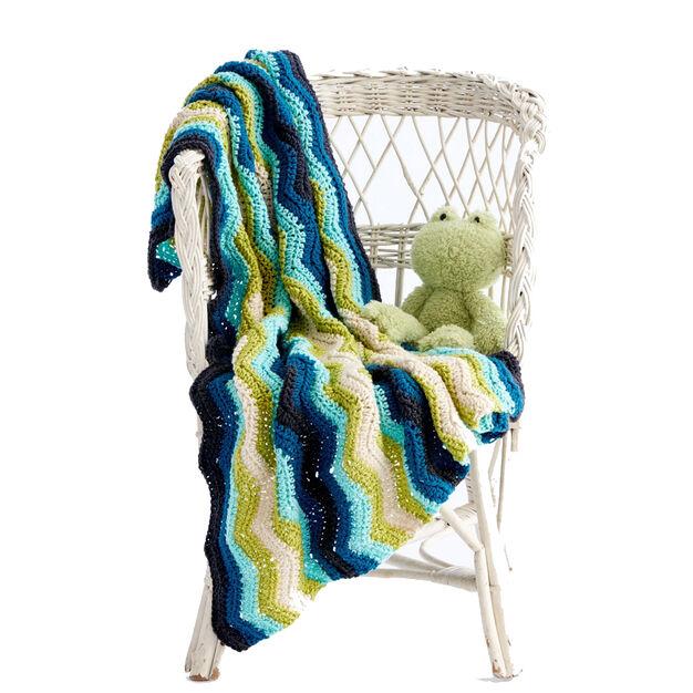 Caron Chevron Stripes Crochet Baby Blanket in color