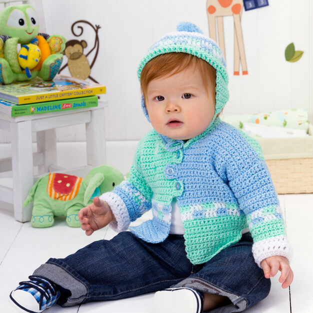 Red Heart Checkers Sweater Set, 6 mos in color