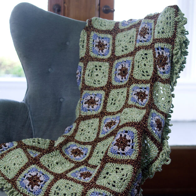 Red Heart Crochet Little Windows Granny Throw in color