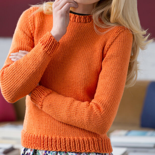 Red Heart Knit Crew Sweater, S in color